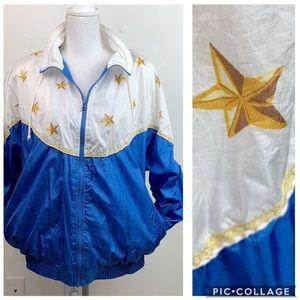 Vintage nylon windbreaker nautical star jacket EUC